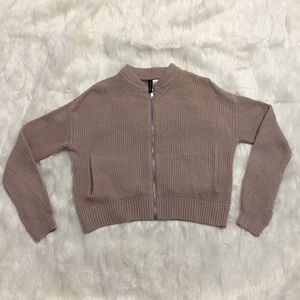 H&M dusty pink zip up cardigan sweater